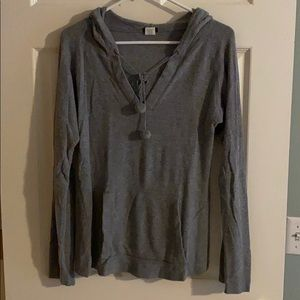 J Crew gray waffle knit hooded top, size large
